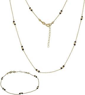 Gioiello Italiano - Parure in oro giallo 14kt con zirconi neri, collana e bracciale, per donne