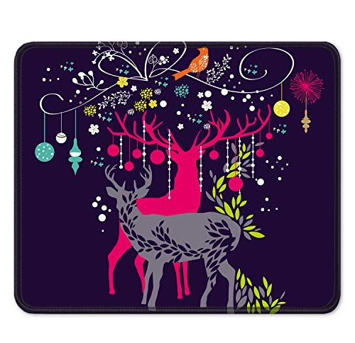 """Auhoahsil Mouse Pad, Square Moose Theme Anti-Slip Rubber Mousepad with Stitched Edges for Office Gaming Laptop Computer Men Women, Beautiful Custom Pattern, 11.8"""" x 9.8"""", Deer and Christmas Tree"""