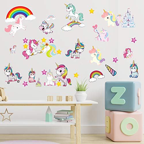 JesPlay Unicorns Adhesive Wall Decals Wall Décor Stickers for Kids amp Toddlers Include Unicorns Rainbows Princesses amp More  Removable Wall Decor for Bedroom Living Room Nursery Classroom