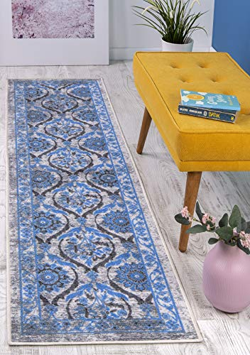 Antep Rugs Casa Azul Collection Geometric Floral Non-Skid (Non-Slip) Low Profile Pile Rubber Backing Indoor Area Runner Rug (Blue/Grey, 1'10