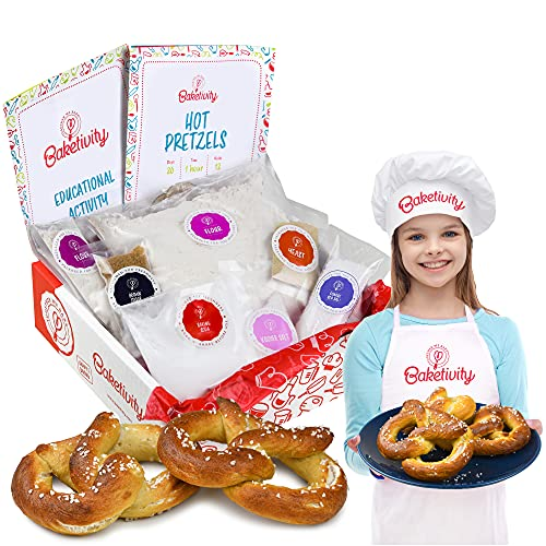 Baketivity Kids Baking Set, Meal Cooking Party Supply Kit for Teens, Real Fun Little Junior Chef Essential Kitchen Lessons, Includes Pre-Measured Ingredients (Baketivity Kit, Pretzel)