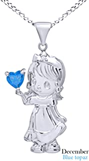 Angel Girl Pendant in 14K White Gold Over Sterling Silver