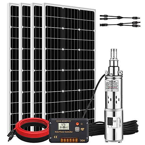 Pumplus 24V 400W Submersible Solar Water Well Pump Kit, 3'' 250W Solar Water Pump, 30A Controller and 16ft Solar Cable for Irrigation Water Supply, Circulation, Garden