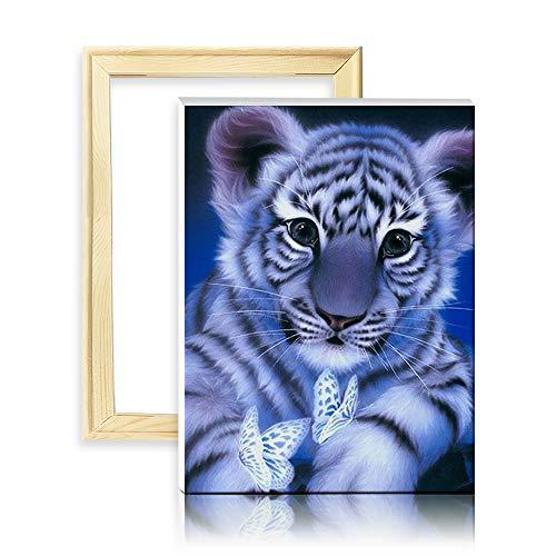 ufengke Weißer Tiger 5D Diamant Malerei Set Mosaik DIY Diamond Painting nach Zahlen Kreuzstich Stickbilder, mit Holzkeilrahmen, Design 25x35cm