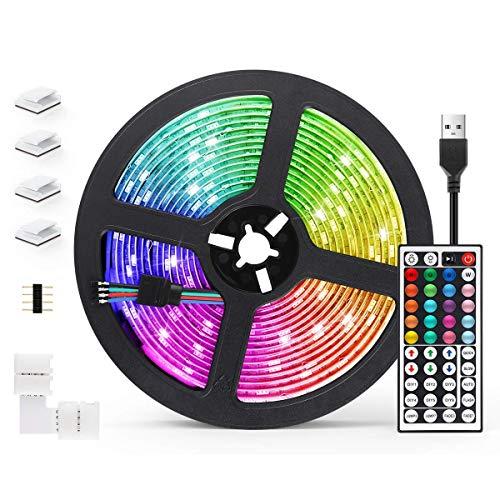 Tiras LED 5M, AGPTEK Luces LED 5050 RGB 150 Tira LED con Control Remoto de...