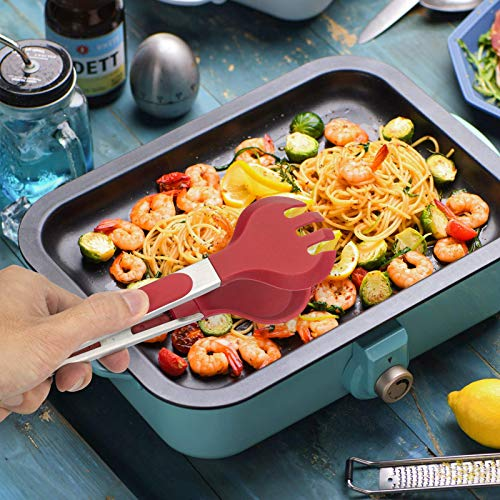 Product Image 4: Tongs for Cooking, SoupStall 4 Kitchen Tongs for Cooking With Heat Resistant Silicone Tip Plus 4 Grill and BBQ Basting Brushes Set, BPA Free Non-Stick Stainless Steel Locking Tongs and Non-Slip Handle