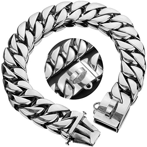MYHZH Collar de Perro para Trabajo Pesado estrangulación Cubana Collar Cadena Cadena con Hebilla de Metal de 23 mm Cadena de Formación del Perro Los Perros, por Mediano Perros Grandes,Plata,60x2.3 cm