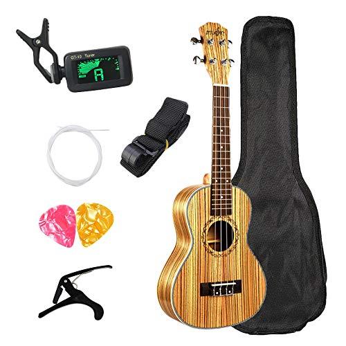 ACAMPTAR Concierto Ukelele 23 Pulgadas Hawaiana Zebrawood Principiante Uke 4 Cuerdas Guitarra Acustica Guitarra Ukulele con Bolsa Enviar Regalos Instrumento Musical de Cuerda