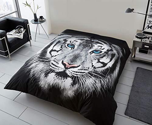 Manta de piel sintética 3D con estampado de visón de 2 plazas, sofá cama grande y suave de forro polar blanco, cara de tigre doble, 150 cm x 200 cm aprox.