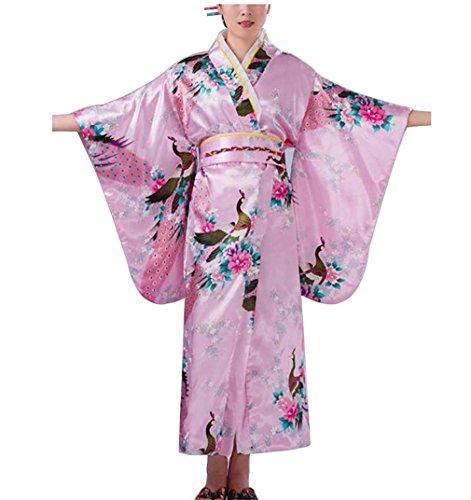 Botanmu Frauen Kimono Robe Japanische Kleid Fotografie Cosplay Kostüm 5 Farben (Rosa)