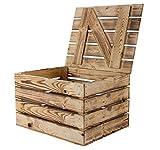 Obstkisten-online 1x geflammte Holztruhe mit Deckel | 48x36x28cm | zum sitzen und verstauen | ideal als Schuhbank im Flur oder im Ankleidezimmer