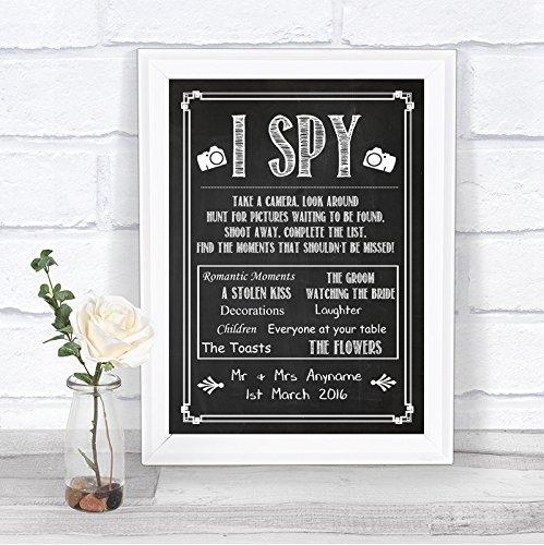 Chalkboard Style I Spy Disposable Camera Take Photos Vintage Personalized Wedding Sign