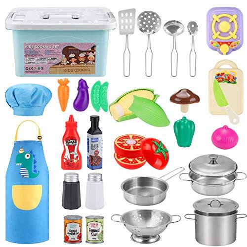 JYToyz Giocattoli da Cucina per Bambini 30 Pezzi Cucina Pentole Giocattolo per Bambini, Acciaio Inossidabile Accessori Cucina Taglio Cibo Verdura Grem