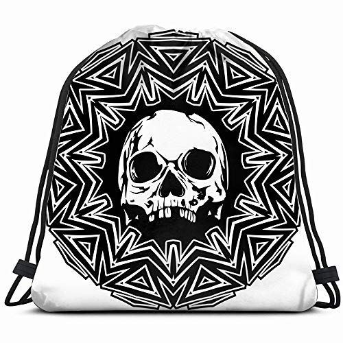 XCNGG Abstract Black White Skull Signs Symbols Sports Recreation Drawstring Backpack Sports Gym Bag For Women Men Children Large Size With Zipper And Water Bottle Mesh Pockets