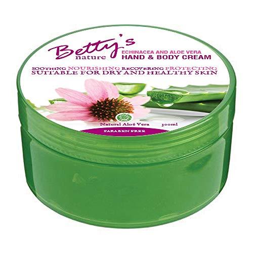 Betty´s nature Hand und Körper Creme für trockene und gesunde Haut - Parabenfrei - Mit Aloe Vera und Echinacea - 300 ml