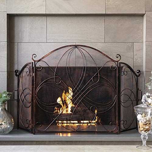 Best Choice Products 3-Panel 55x33in Wrought Iron Fireplace Safety Screen Decorative Scroll Spark Guard Cover