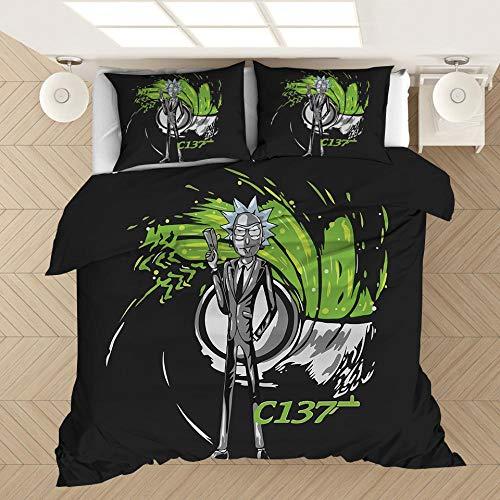 SixyeLiuzhi 3D Rick und Morty Bettwäsche-Sets Bettbezug Print Bettwäsche mit Kissenbezug Bett Set Heimtextilien,200x230cm(3Stück)
