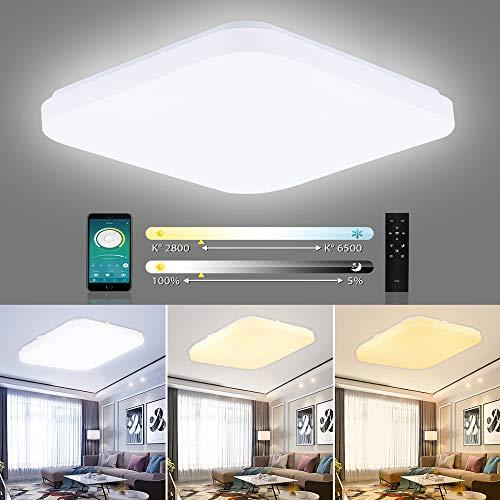 ERWEY Wasserdichte LED Deckenlampe Dimmbar Deckenleucht LED Modern Dünn Quadratisch Lampe Max. 42W 4080 Lumen Lichtfarbe einstellbar Badezimmer Schlafzimmer Korridor (Dimmbar mit FB, 32 X 32 CM)