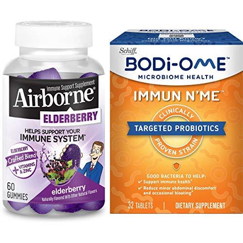 Elderberry + Vitamins & Zinc Crafted Blend Gummies, Airborne w/Probiotics 800 Million CFU Capsules, Bodi-Ome Immun N'Me
