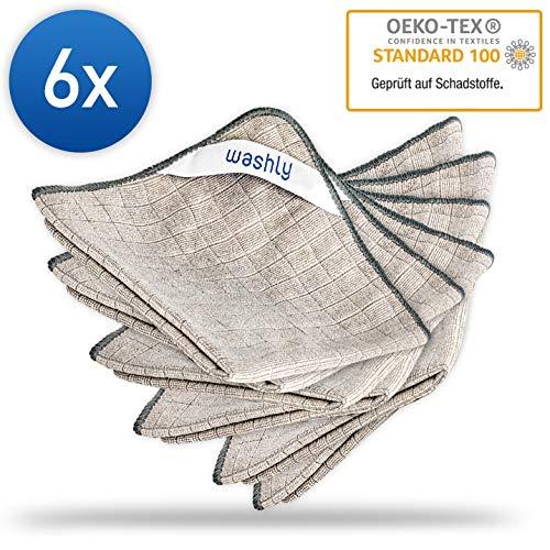 washly Mikrofasertücher als Universal Reinigungstücher I Microfaser Putztuch vielseitig einsetzbar I Mikrofaser Reinigungstücher sind extrem saugstark, weich und fusselfrei I 6 Stück 30 x 30 cm