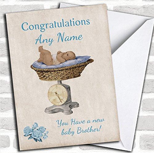 Mooie Vintage Blauwe Baby Jongen Broer Op Schalen Sibling Kaart Met Envelop, Kan Volledig Gepersonaliseerd, Verzonden Snel & Gratis