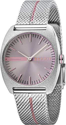 Esprit Damenuhr Spectrum Purple Stripe Mesh 5 Bar Analog Edelstahl Silber ES-1L035M0055