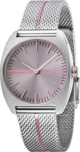 Esprit Damenuhr Spectrum Purple Stripe Mesh 5 Bar Analog Edelstahl Silber ES-1L035M0055