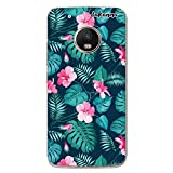 dakanna Funda Compatible con [Lenovo Moto G5 Plus] de Silicona Flexible, Dibujo Diseño [Flores Tropicales], Color [Borde Transparente] Carcasa Case Cover de Gel TPU para Smartphone
