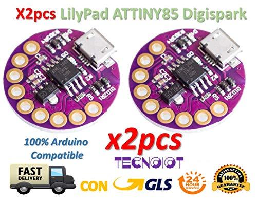 TECNOIOT 2pcs Lilypad ATTINY85 Digispark Wearable Device Nano for Arduino |2 Stück Lilypad ATTINY85 Digispark tragbares Gerät Nano für Arduino