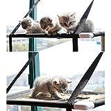 Decdeal Cama de Ventana para Gatos Casa con Hamaca de Percha Doble Cubierta Ventosas Asiento Estantes para Mascotas para Tomar El Sol Sostener hasta 20 kg 44 LB