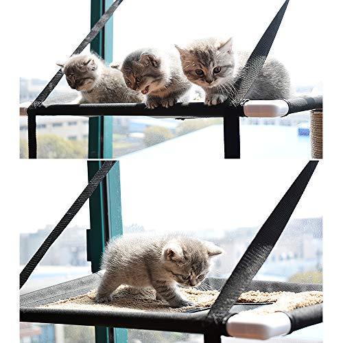 Galapara Hamaca para Ventana de Gato Cama Colgante de 6 Ventosas, Hamaca Calamar Doble Ventana, Capacidad de hasta 20 kg 44 LB Ahorro de Espacio