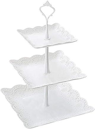 Preisvergleich für Serviertablett mit 3 Etagen, für Vorspeise oder Dessert/Cupcakes und Kuchenständer – Tafelaufsatz für Hochzeiten, Teepartys, Urlaubsessen oder Geburtstagspartys 2
