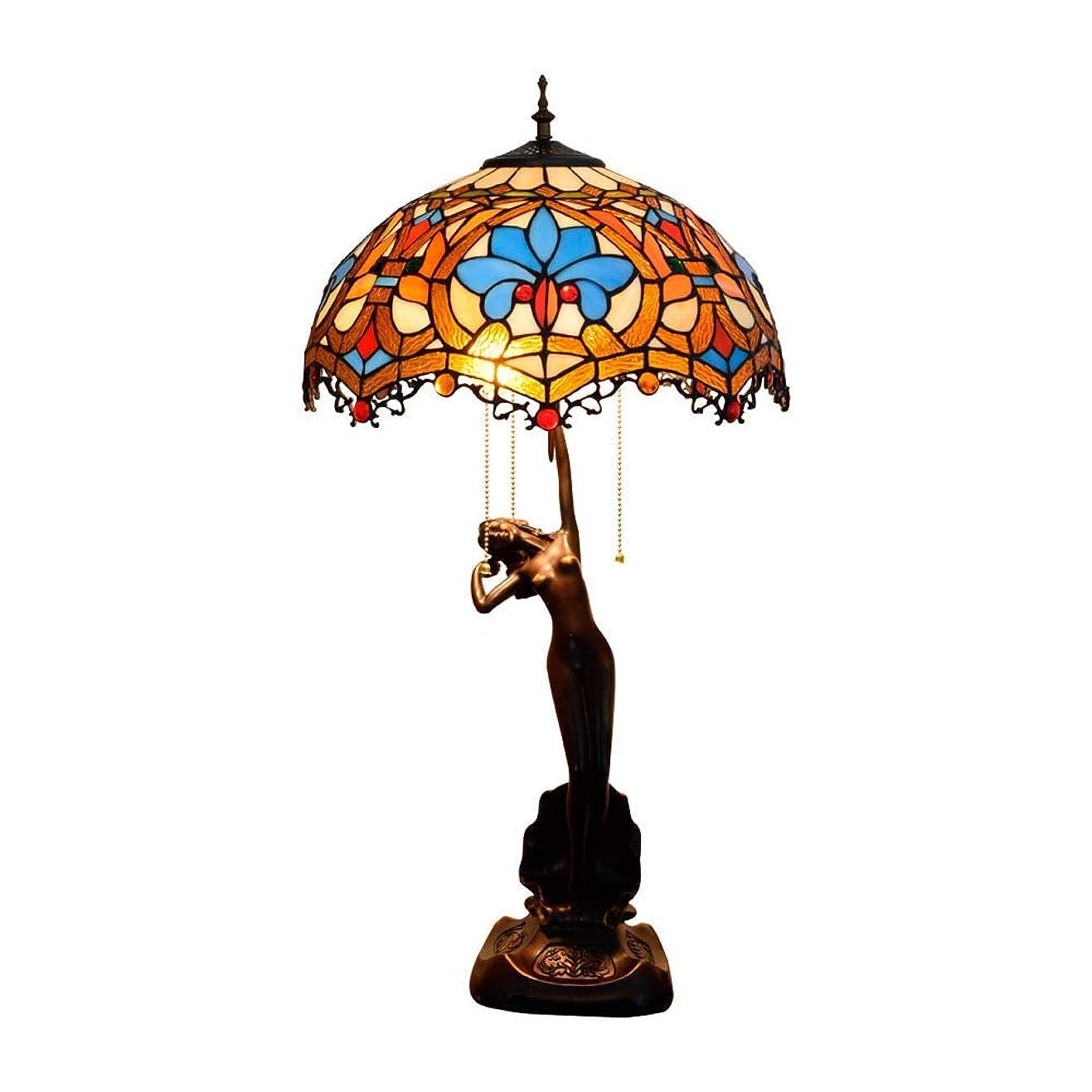 量リムストレスの多い40 Cmのテーブルランプ、クレマチスと花とセクシーな女性の基本的なガラスのランプとティファニースタイルテーブルランプ、レトロリビングルームライトE27、Max40w