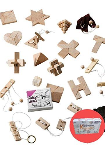 Knobelspiel Klassiker Sets - diverse Mitgebsel - 16 Spiele einzeln verpackt incl Lösung Geduldspiele Geschicklichkeitsspiele Puzzlespiel Knobelspiele (Set 4)