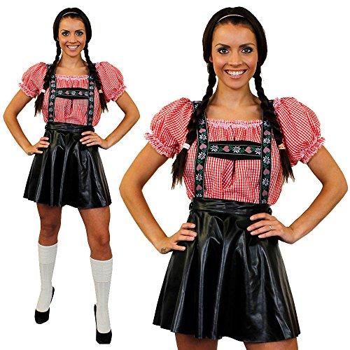 I LOVE FANCY DRESS LTD Déguisement de Luxe pour Femme avec cet Ensemble Jupe Salopette Bavaroise + Une Chemise Rouge et Blanche à Carreaux. Idéal pour Les fêtes de la bières Oktoberfest. ( XLarge )