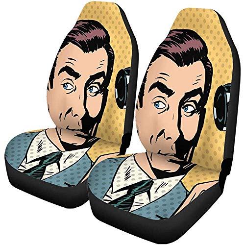 Autostoelhoezen Comic Man Zakenman Pratende Telefoon Pop Retro Vintage Boek Auto Accessoires Beschermers Universeel