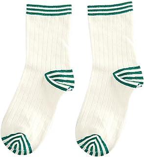 CAOLATOR Calcetines Raya Color Sólido Calcetín Mediano Algodón para Baile Animadoras Fútbol Movimiento Moda Calcetines de Mujer-Verde