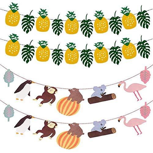 NOBRAND 4 Pcs Hawaiian Tropical Party Decoration Garland, Cartoon Animal Banner Bunting Tropical Leaf Pineapple Banner Garland, for Summer Beach Hawaiian Theme Birthday Party Decoration
