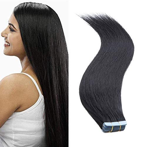 SEGO Tape In Remy Hair Extension Adhesive Cheveux Naturel - 50 CM 01#Noir Foncé [2.5g X 10 Pièces] - Vrai Cheveux a Froid Invisible Bande Adhésif