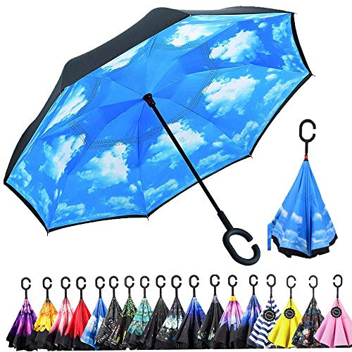 Monstleo Inverted Umbrella,Double Layer Reverse Umbrella for Car and Outdoor Use by, Windproof UV Protection Big Straight Umbrella with C-Shaped Handle and Carrying Bag (strip)