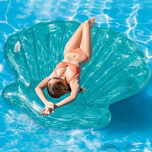 KK Zachary Übergroßes aufblasbares Bett mit blauer Muschel, dickes Netz, roter Schwimmring, Göttin, Urlaub, Freizeit