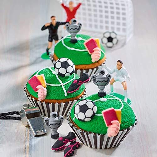 Decocino 32411 - Set di 12 decorazioni commestibili per torte a forma di calcio