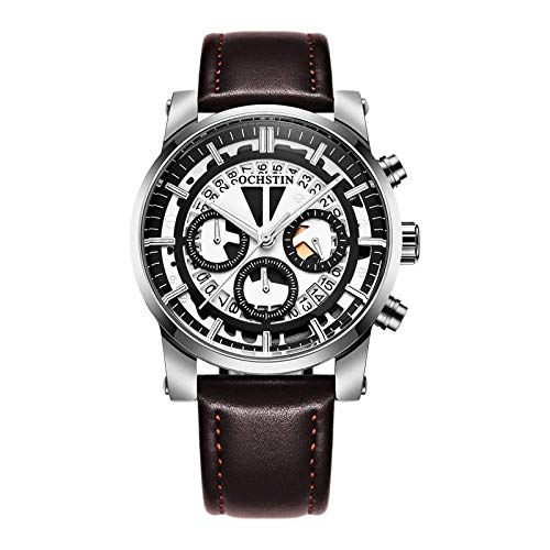 Relojes De Pulsera Multifunción para Hombre Reloj De Cuarzo Esqueleto Digital Analógico con Correa De Cuero Y Esfera Luminosa Impermeable para Adolescentes Decoración Al Aire Libre