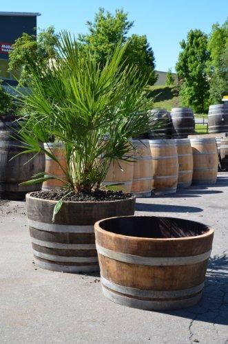 DER BESONDERE GARTEN Weinfass Pflanzkübel Set - halbierte Holzfässer Jung und Alt Winterfest, Gross und dekorativ (Fässer mit Trageschlaufen)