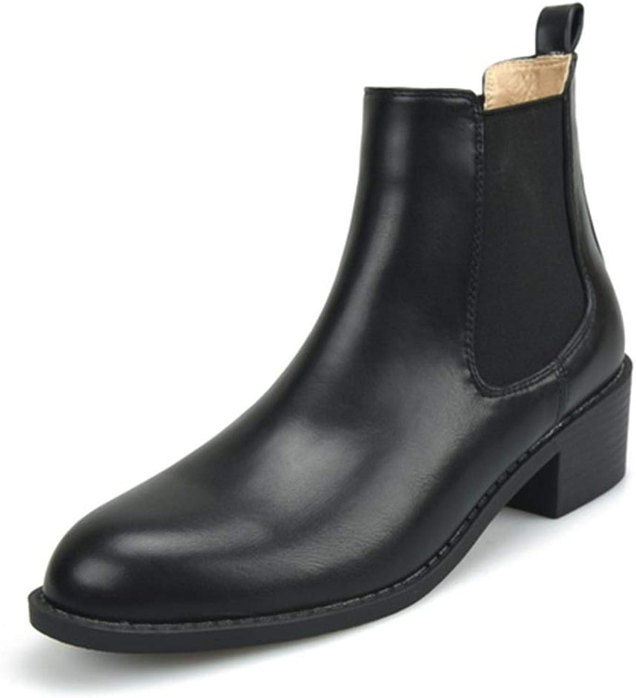 Fenghz-schuhe Schuhe Mode Chelsea-Stiefel für Frauen Elastische Bnder Niedriger Absatz Lackleder Stiefel (Farbe   Schwarz, Größe   39 EU)
