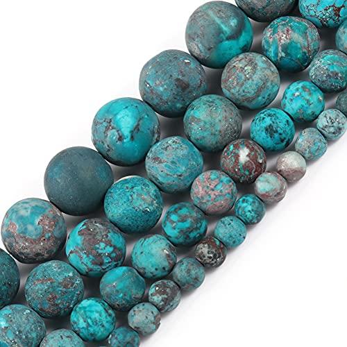 NHFVIRE Perlas Naturales Mate Americano Turquesa Azul Redondo Cuna de Piedra para joyería Haciendo Bricolaje Accesorios de Pulsera 4mm 91pcs Beads