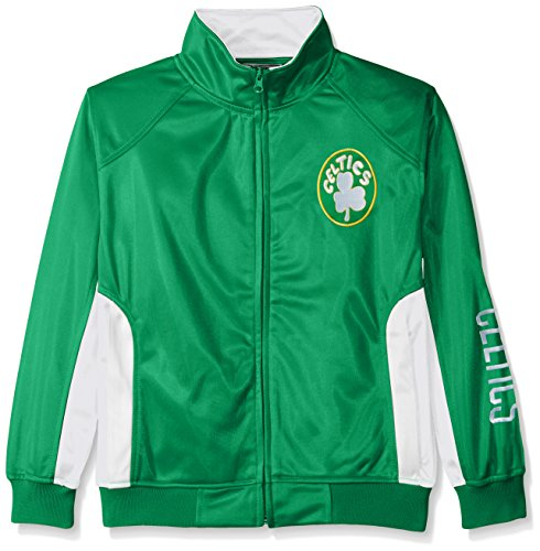 NBA Boston Celtics Tricot Track Jacket with Logo WordMark, Medium, Kelly Green