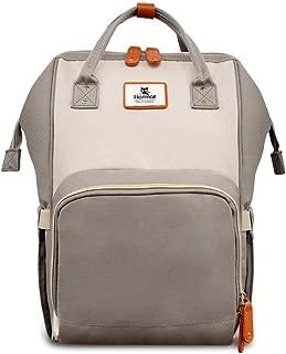 Hafmall Diaper Bag Backpack - Waterproof Travel Nappy Bag Multifunction Baby Bag (Ivory&Grey)
