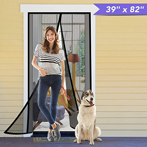 Titan Mall Magnetic Screen Door 39'W x 82'H with Super Tight Self Closing Magnetic Seal and Full Frame Hook & Loop Durable Polyester Mesh Curtain Door Net Screen with Magnet Black