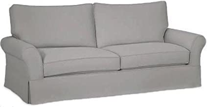 The Cotton Sofa Cover Only Fits Pottery Barn PB Comfort Grand Roll Arm Sofa. A Durable Sofa Slipcover Replacement (L Gray Box Edge)